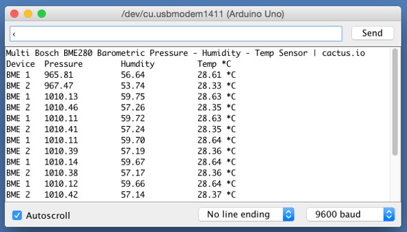 Hookup software arduino to multiple bme barometric