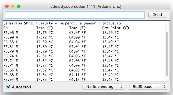 Connect Arduino to Sensirion SHT15 Humidity - Temperature Sensor
