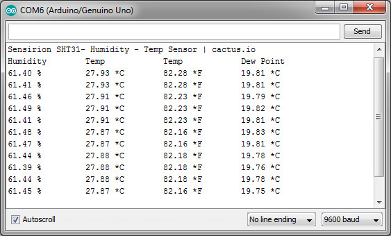 Connect Arduino to Sensirion SHT31 Humidity - Temperature Sensor