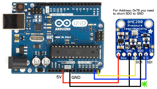 connect arduino to bme280 i2c 0x76 sensor hookup arduino to bme280 using i2c