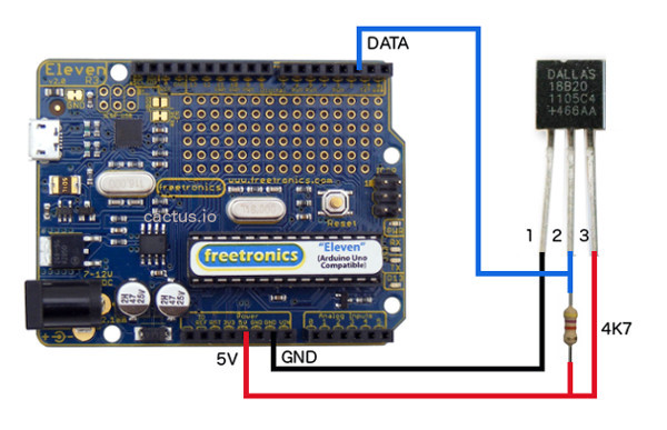 Connect Arduino to DS18B20 Temperature Sensor Hookup