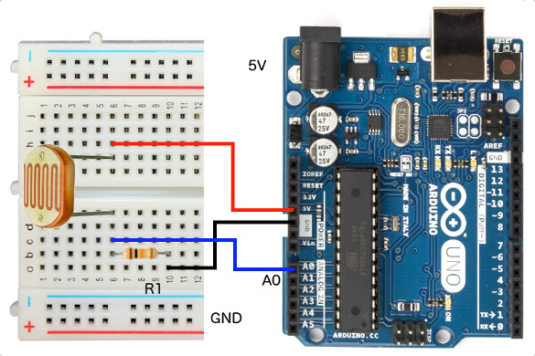 Connect Arduino to LDR Sensor Hookup using breadboard