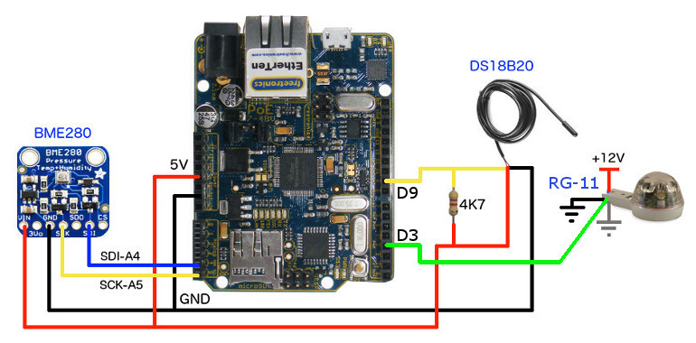 Hookup Arduino to BME280 and DS18B20