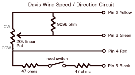 Davis Anemometer Wind Speed Direction Circuit