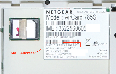 Sample of a MAC address on a network device